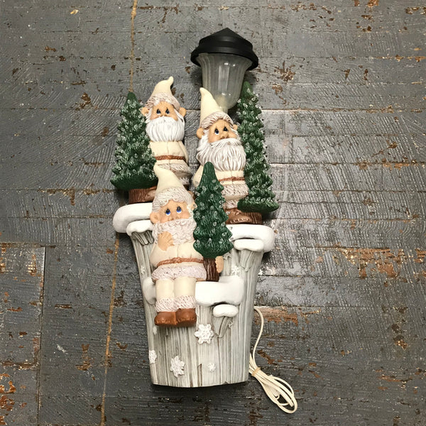 Ceramic Christmas Winter Gnome Tree Log Solar Lamp Light