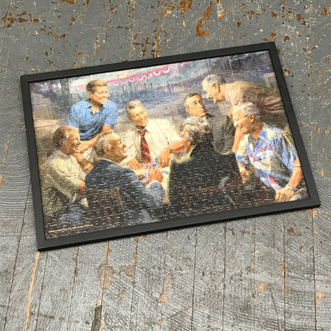 Framed Puzzle Picture Wall Art United States Presidents Democratic Card Table