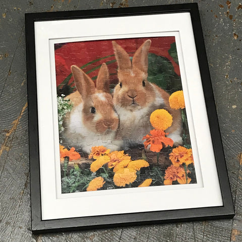 Framed Puzzle Picture Wall Art Spring Easter Bunny Rabbits