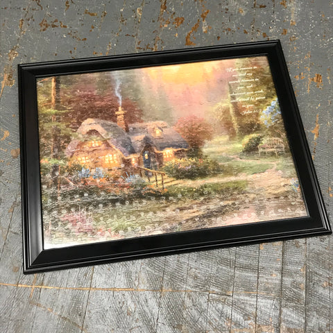 Framed Puzzle Picture Wall Art Thomas Kinkade Cottage John 15:7
