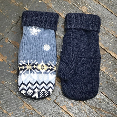Upcycled Sweater Fleece Lined Mittens Blue Denim Snowflake