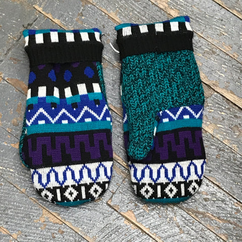 Upcycled Sweater Fleece Lined Mittens Jewel Tone Abstract Shapes