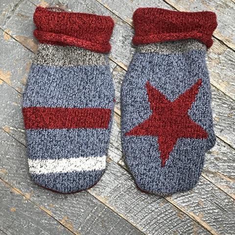 Upcycled Sweater Fleece Lined Mittens Primitive Star Stripes