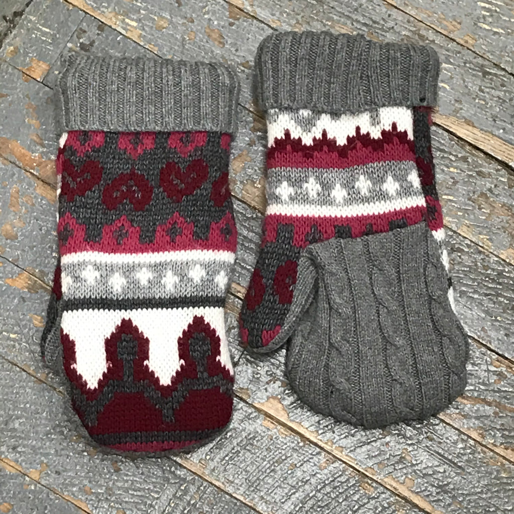 Upcycled Sweater Fleece Lined Mittens Grey Maroon Hearts