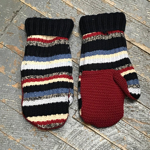 Upcycled Sweater Fleece Lined Mittens Blue Denim Stripes