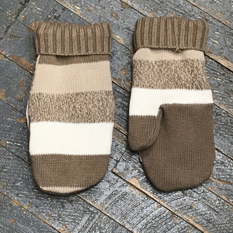 Upcycled Sweater Fleece Lined Mittens Neutral Brown Tan Stripe