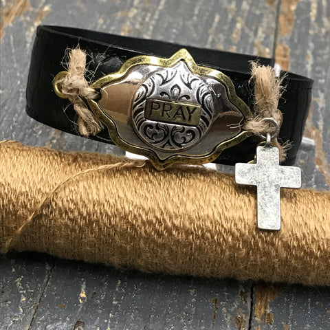 Black Leather Gold Silver Plate Pray Dangle Cross Belt Snap Bracelet