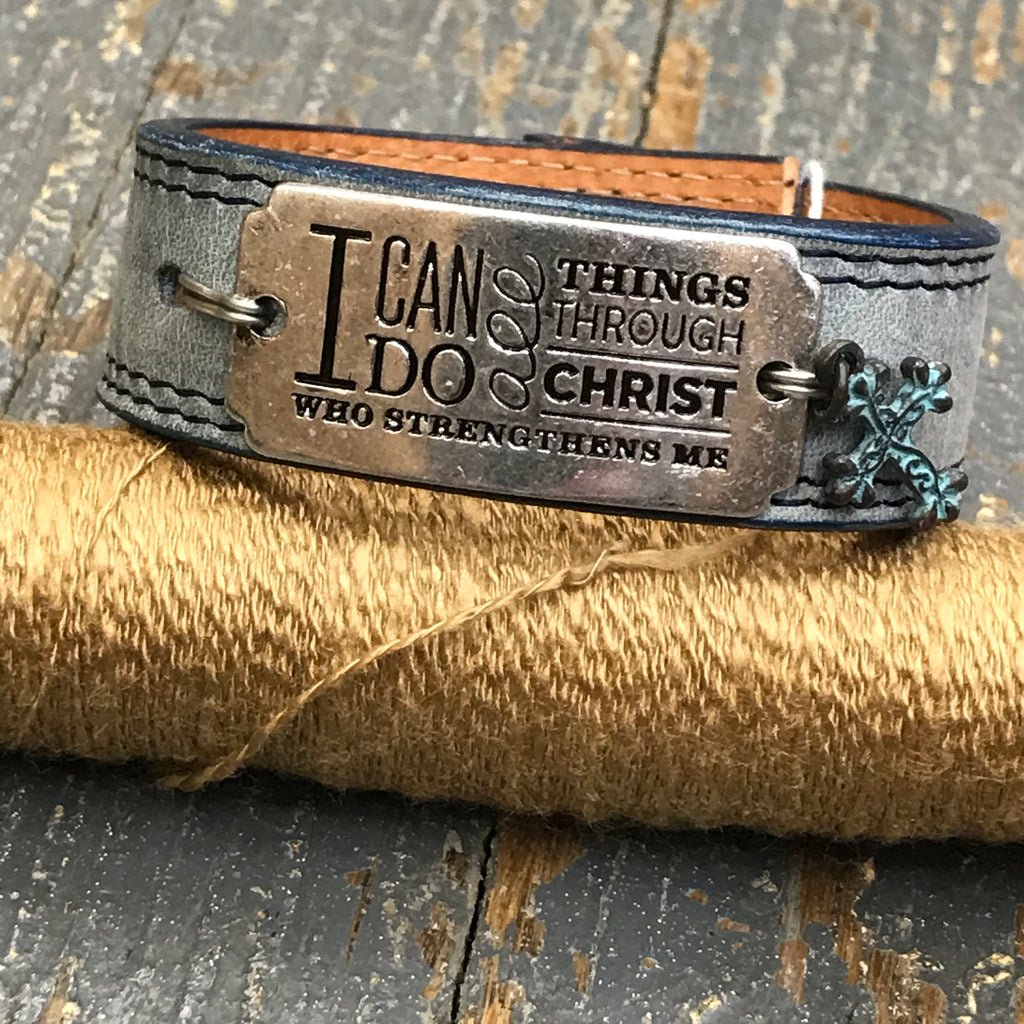 Blue Leather Silver Plate I Can Do All Things Dangle Cross Belt Snap Bracelet