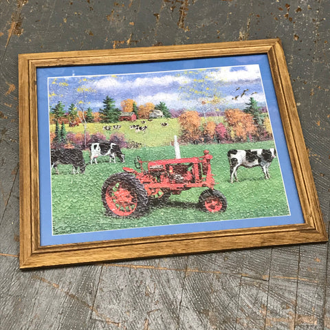 Framed Puzzle Picture Wall Art Dairy Farm Farmall Red Tractor
