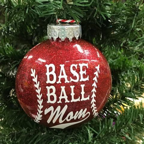 Holiday Christmas Tree Ornament Baseball Mom