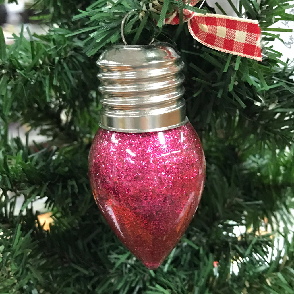 Holiday Christmas Tree Ornament Light of Friendship Pink Light Bulb