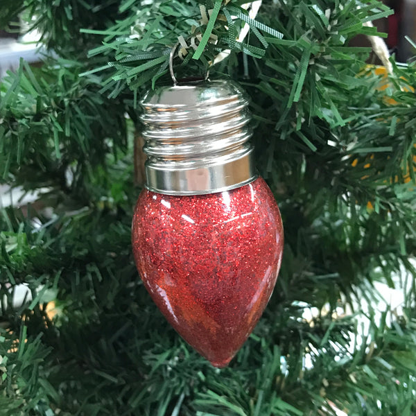Holiday Christmas Tree Ornament Light of Friendship Red Light Bulb