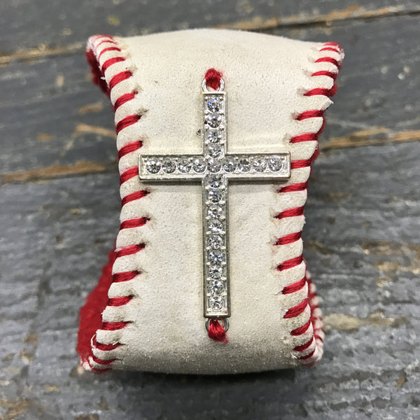 Handmade Baseball Bracelet Red with Cross Jewelry