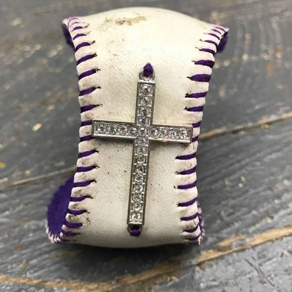 Handmade Baseball Bracelet Purple with Cross Jewelry