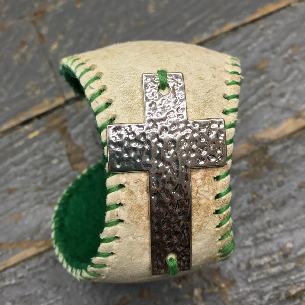 Handmade Baseball Bracelet Green with Cross Jewelry