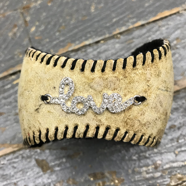 Handmade Baseball Bracelet Black with Love Jewelry