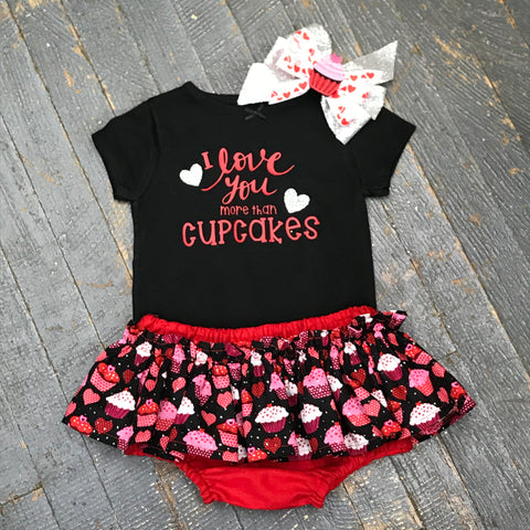 I Love You More Than Cupcakes Onesie Bodysuit One Piece Newborn Infant Toddler Outfit Tutu Hair Bow Set
