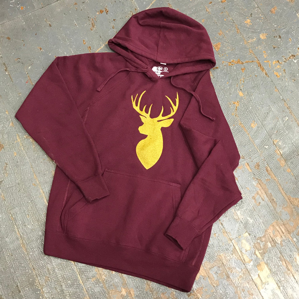 Buck Deer Hooded Burgundy Graphic Designer Sweatshirt