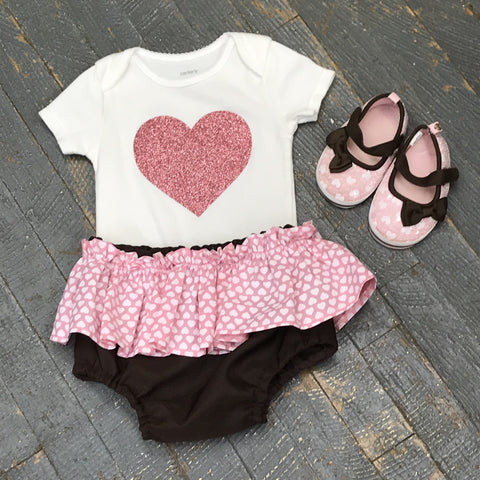 Pink Glitter Heart Onesie Bodysuit One Piece Newborn Infant Toddler Outfit Tutu Hair Bow Set