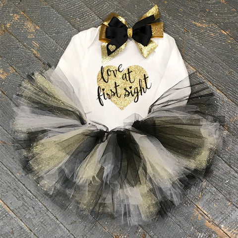 Love at First Sight Glitter Heart Onesie Bodysuit One Piece Newborn Infant Toddler Outfit Tutu Hair Bow Set