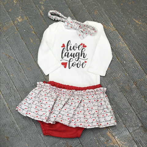 Live Laugh Love Onesie Bodysuit One Piece Newborn Infant Toddler Outfit Tutu Hair Bow Set
