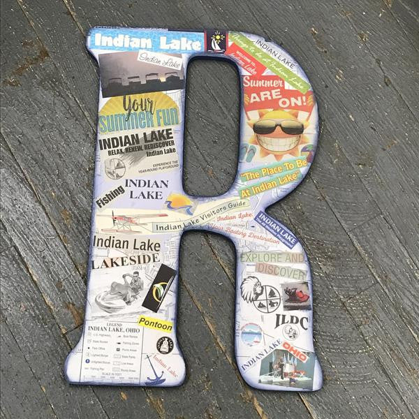 Indian Lake Memorabilia Dimensional Wood Decoupage Monogram Alphabet Letter R