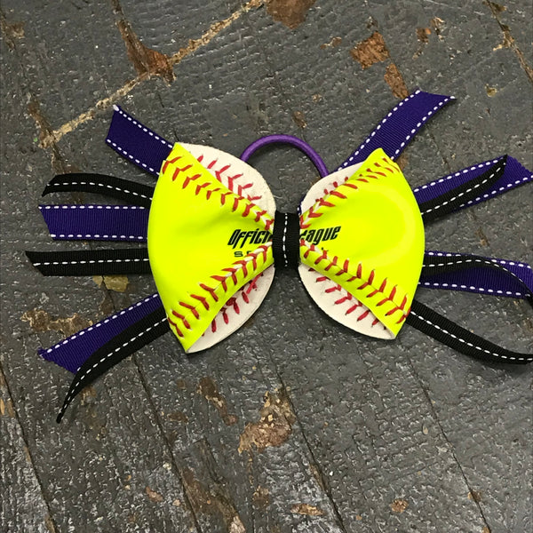 Handmade Softball Pony Tail Hair Band Bows with Stitching Assorted Colors Black Purple