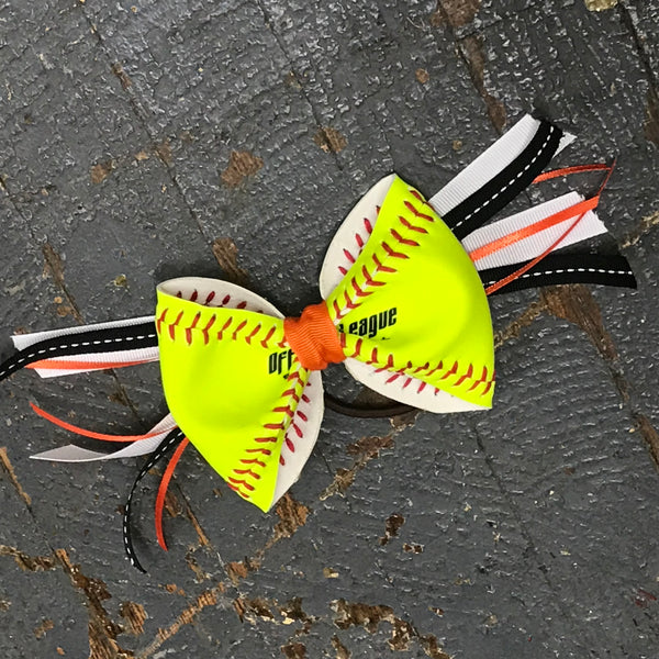 Handmade Softball Pony Tail Hair Band Bows with Stitching Assorted Colors Black Orange
