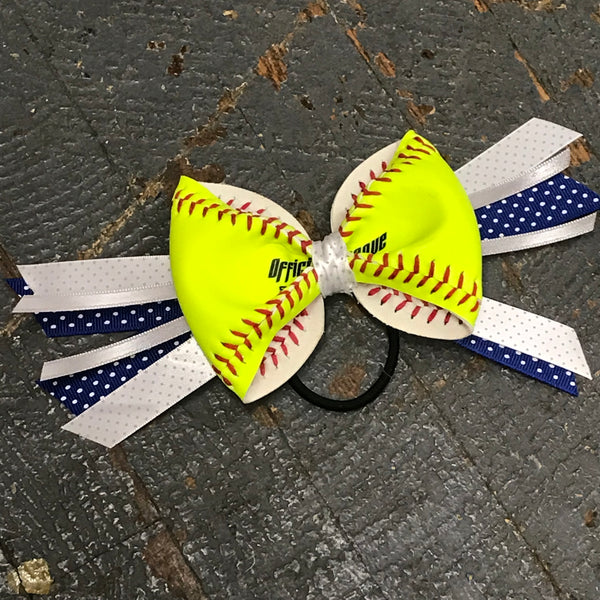 Handmade Softball Pony Tail Hair Band Bows with Stitching Assorted Colors Blue Grey