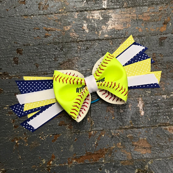Handmade Softball Pony Tail Hair Band Bows with Stitching Assorted Colors Blue Yellow