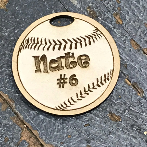 Baseball Sports Personalized Wood Engraved Holiday Christmas Tree Ornament Key Chain