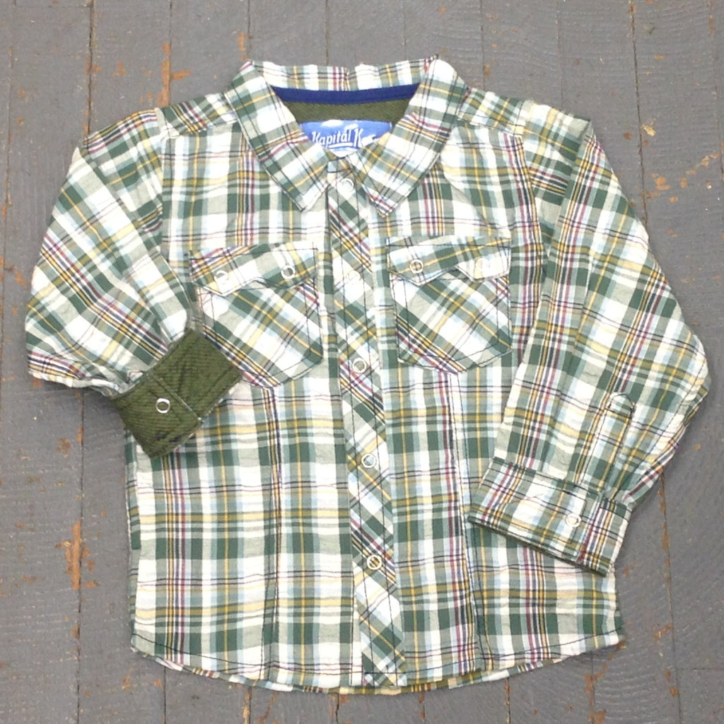 Kapital K Boys Style Long Sleeve Button Up Collared Green Plaid Shirt
