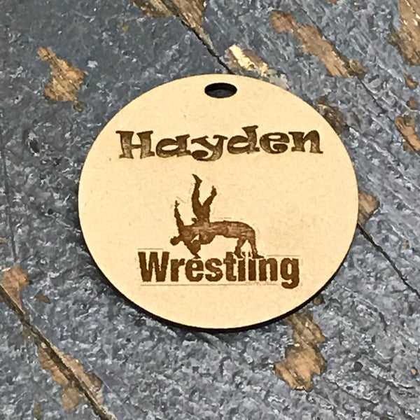 Wrestling Sports Personalized Wood Engraved Holiday Christmas Tree Ornament Key Chain