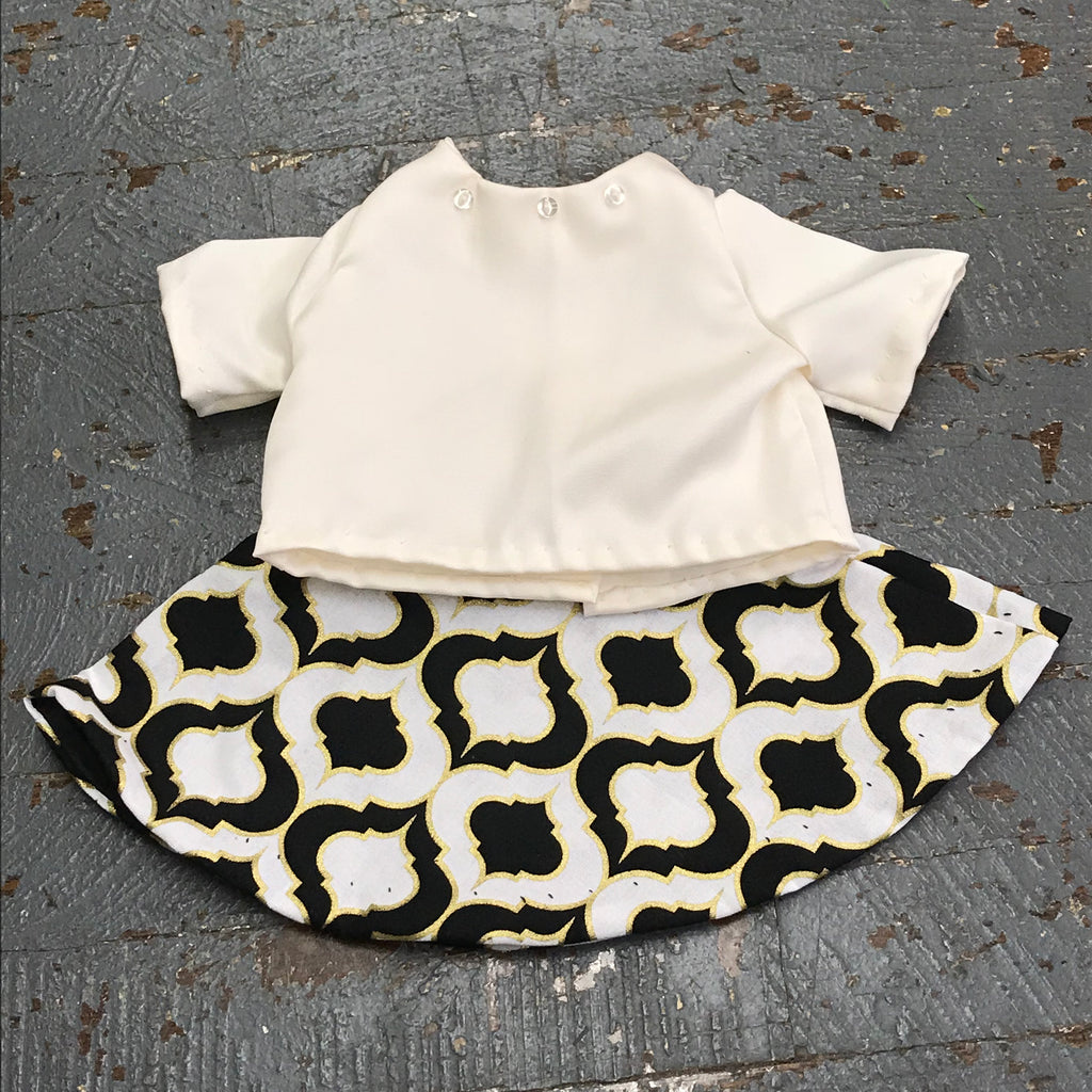 "Fits Like American Girl 18"" Doll Clothes Outfit Ivory Blouse Shirt Top and Black Gold Skirt"