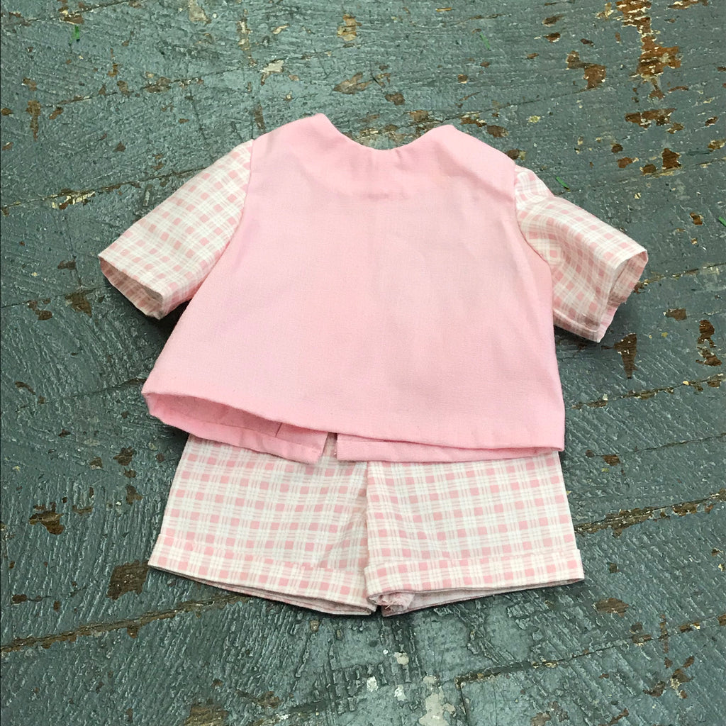 "Fits Like American Girl 18"" Doll Clothes Outfit Pink Check Top and Shorts"