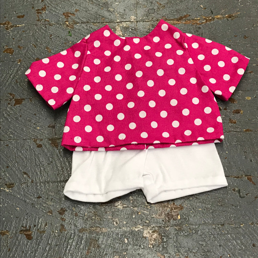 "Fits Like American Girl 18"" Doll Clothes Outfit Pink Polka Dot Top and White Knit Shorts"