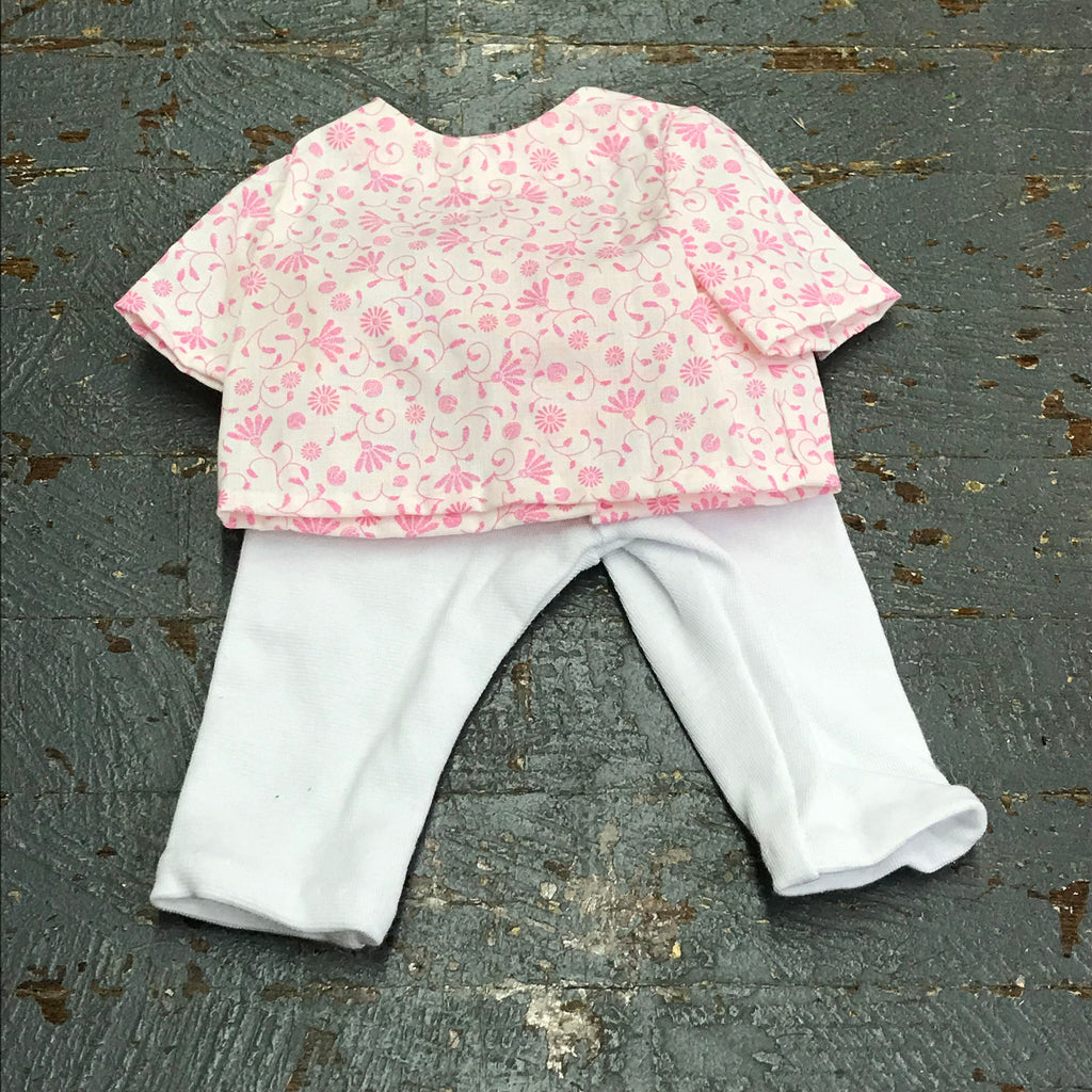 "Fits Like American Girl 18"" Doll Clothes Outfit Pink Floral Shirt Top and White Spandex Pants"
