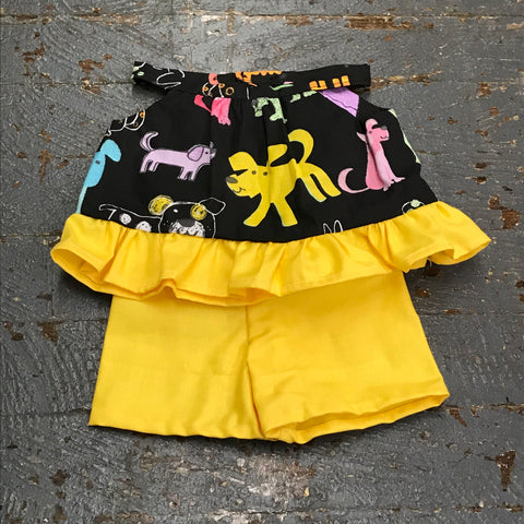 "Fits Like American Girl 18"" Doll Clothes Outfit Black Puppy Dog Top and Yellow Shorts"