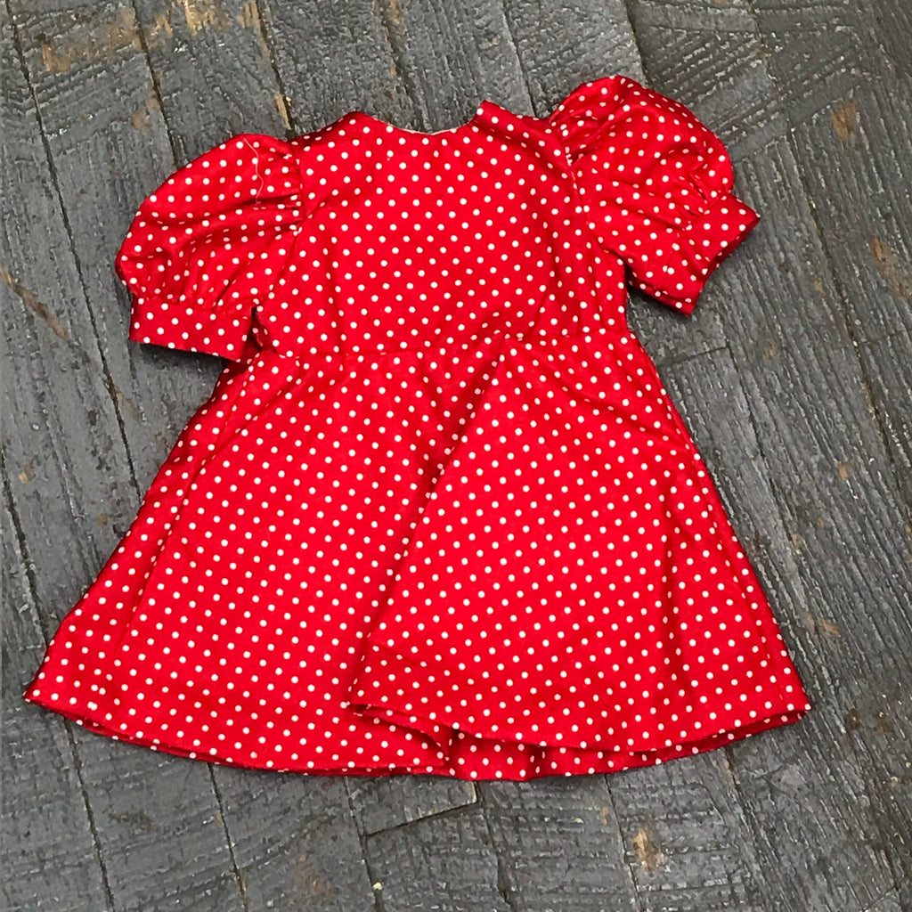 "Fits Like American Girl 18"" Doll Clothes Outfit Red White Polka Dot Dress Skirt"