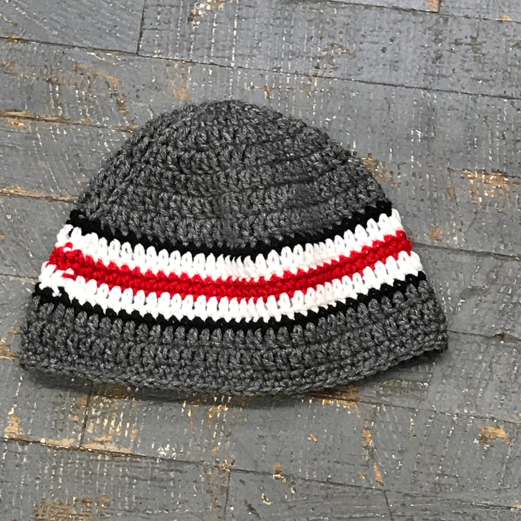 Crocheted Beanie Winter Hat Cap Grey Red Black White Stripe