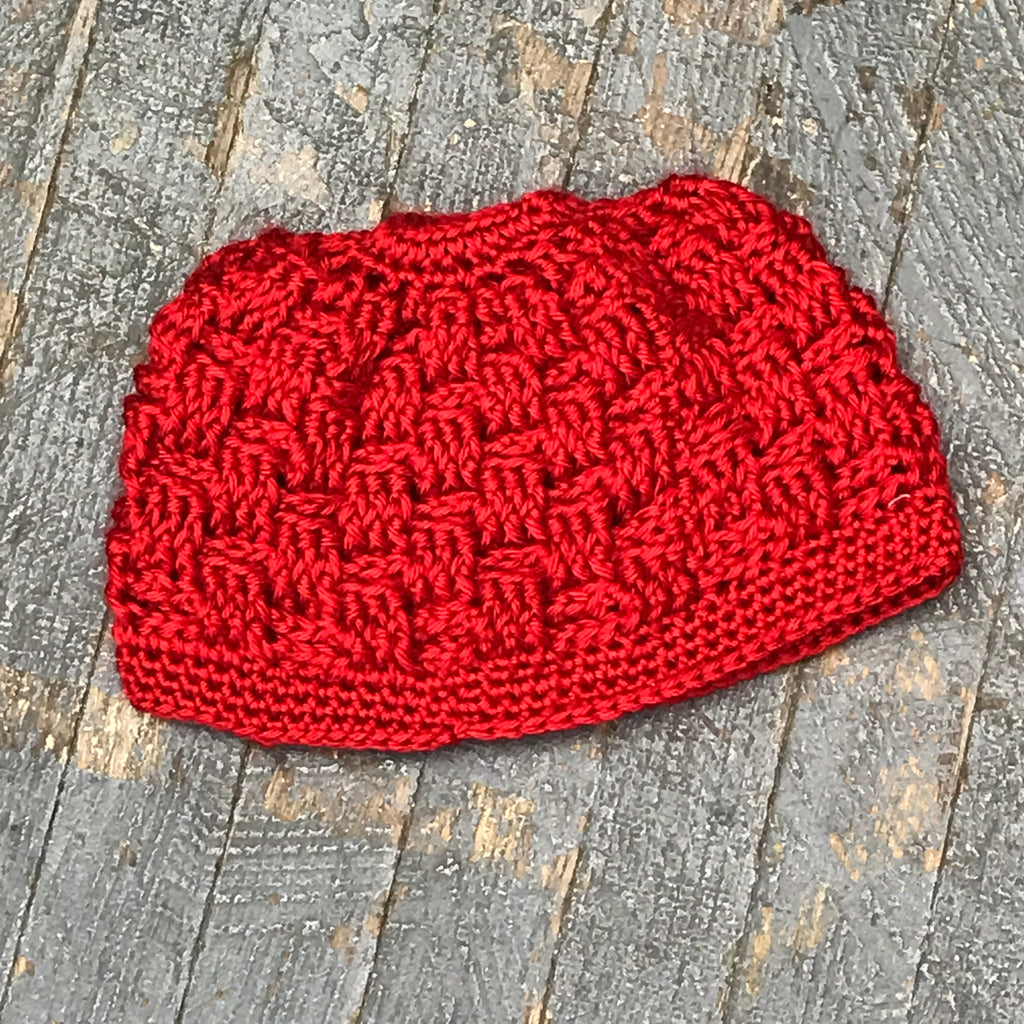 Crocheted Pony Tail Hole Beanie Winter Hat Cap Red Block