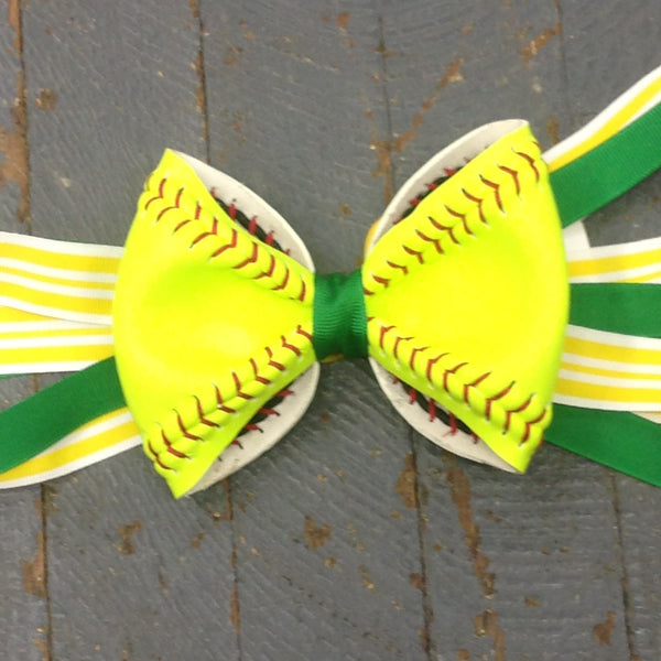 Handmade Softball Pony Tail Hair Band Bows with Stitching Assorted Colors Green Yellow