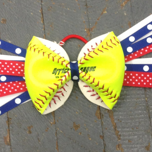Handmade Softball Pony Tail Hair Band Bows with Stitching Assorted Colors Red Blue