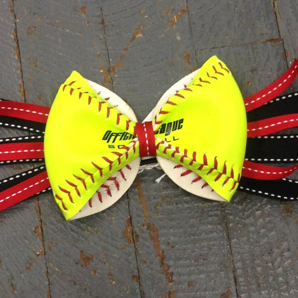 Handmade Softball Pony Tail Hair Band Bows with Stitching Assorted Colors Black Red