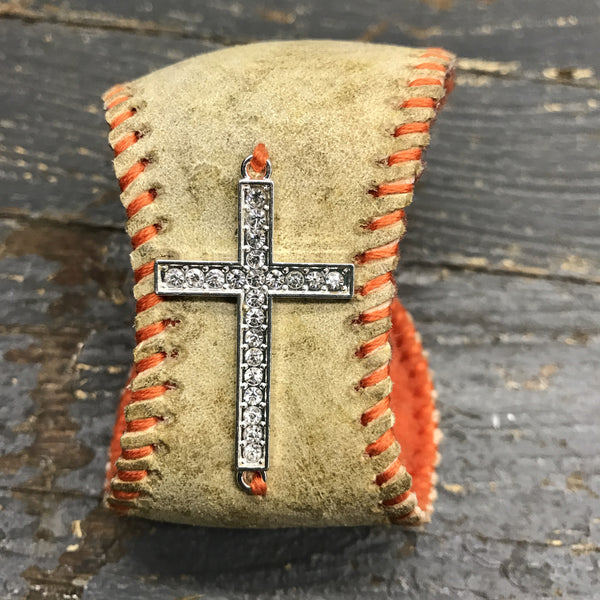 Handmade Baseball Bracelet Orange with Cross Jewelry