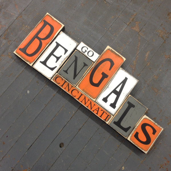 Hand Crafted Wood Word Block Set Football NFL Cincinnati Bengals Decoration