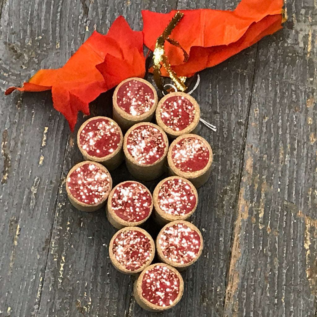 Wine Cork Red Grape Cluster Christmas Ornament Bar Decoration