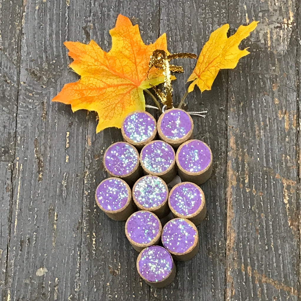 Wine Cork Purple Grape Cluster Christmas Ornament Bar Decoration