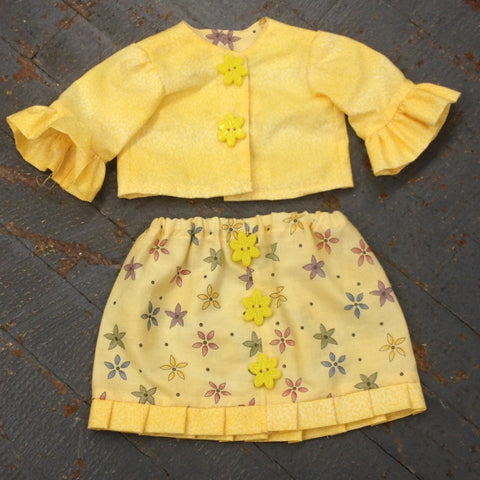 "18"" Doll Clothes Outfit Yellow Floral Print Business Skirt and Jacket"