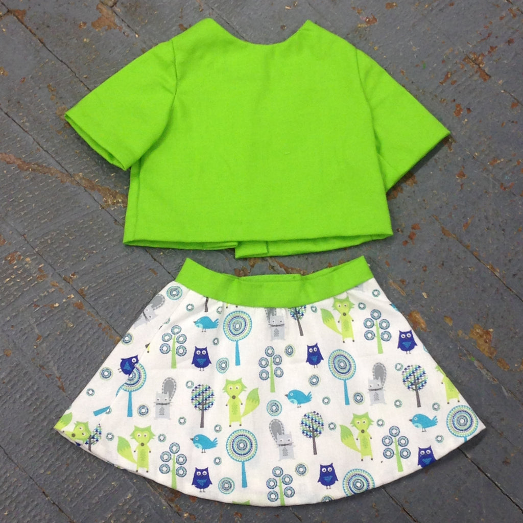 "18"" Doll Clothes Outfit Green Animal Print Business Skirt and Jacket"